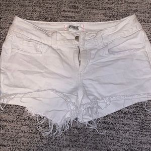 Pink Victoria's Secret white jean cutoff shorts